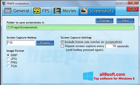 Ekran görüntüsü Fraps Windows 8