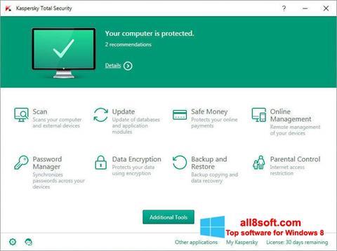Ekran görüntüsü Kaspersky Total Security Windows 8